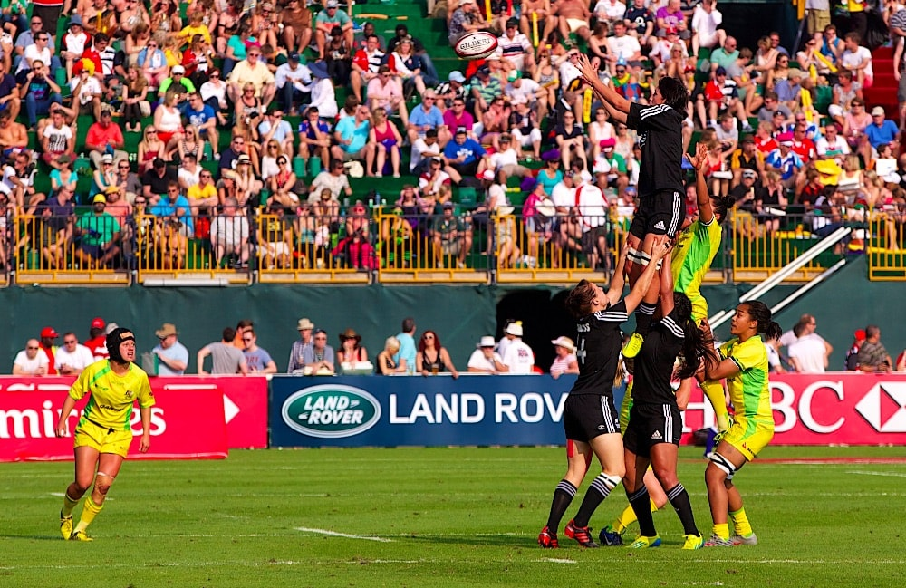Australia and New Zealand compete in the Women's Rugby Sevens   © landrovermena/Wikimedia Commons