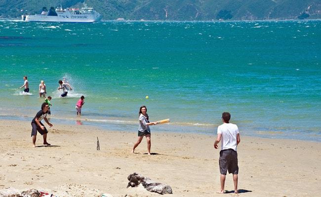 Beach Cricket at Scorching Bay
