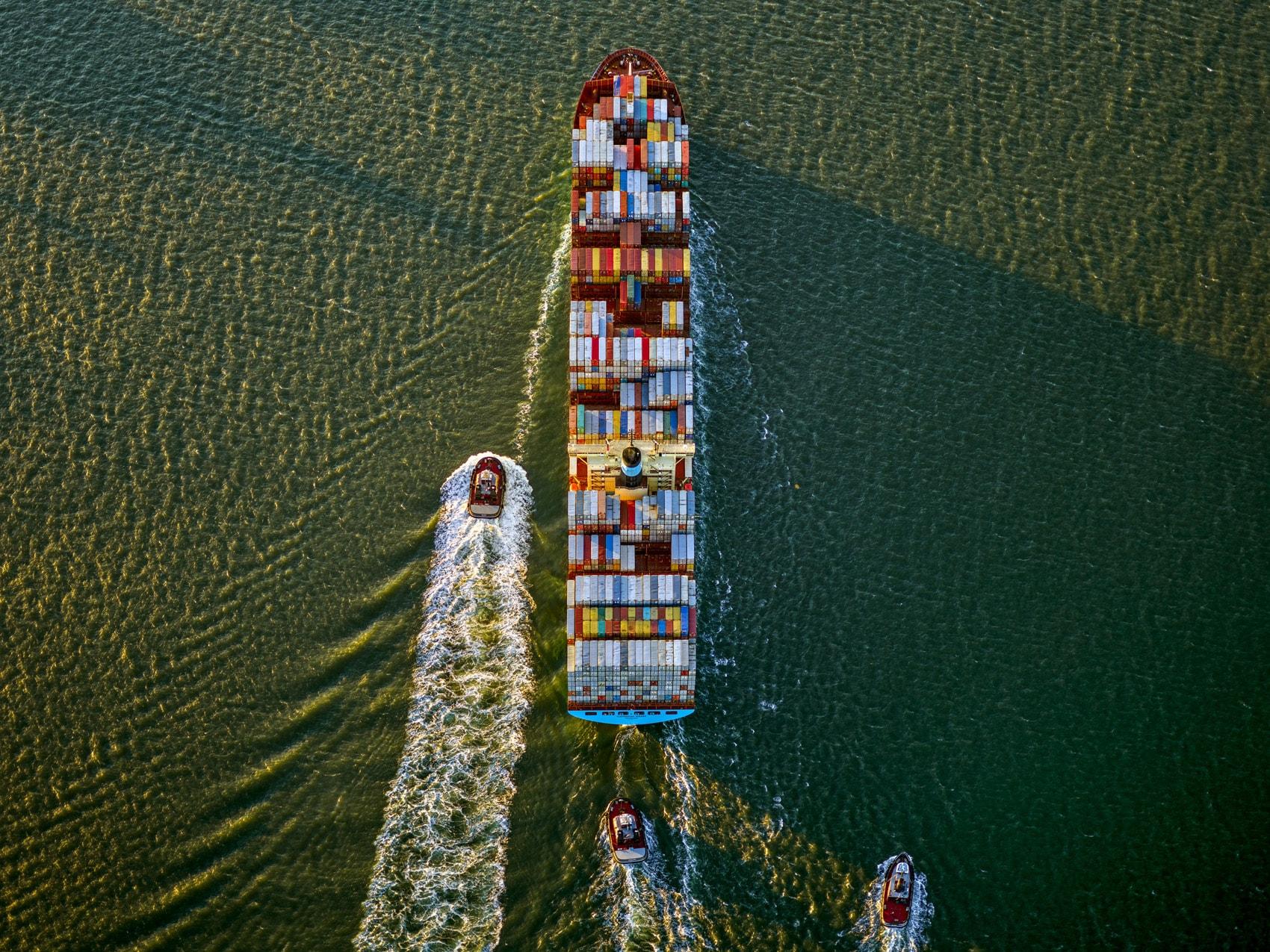 Container Ship and Tugs, Upper Bay, NY. Bayview Auto Wreckers, SI, NY