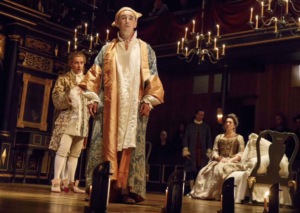 Iestyn Davies, Mark Rylance, Huss Garbiya (as Philippe's doctor), and Melody Grove in <em>Farinelli and the King</em> | © Joan Marcus