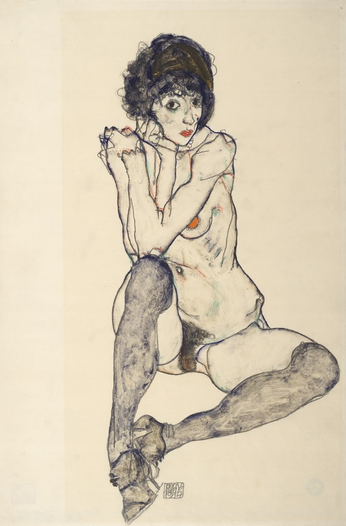 Egon Schiele, 'Seated Female Nude, Elbows Resting on Right Knee', 1914 | Courtesy of the Albertina Museum, Vienna
