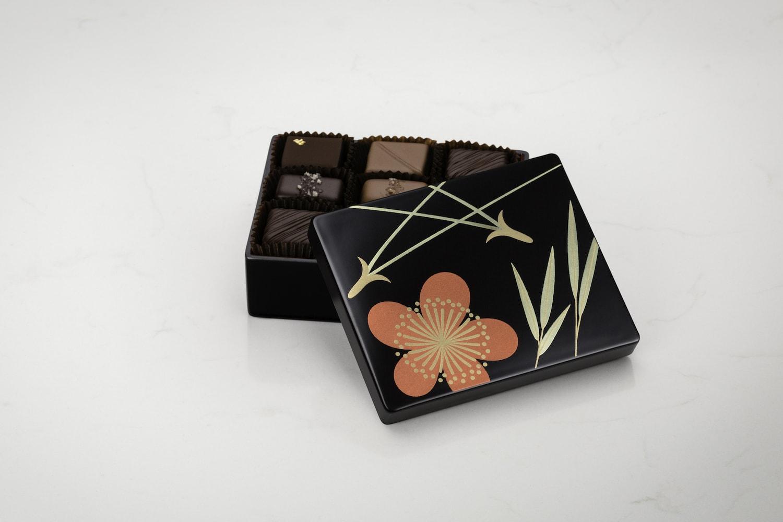 Fran's 9pc Lacquer Box, Black Pine Bamboo Plum