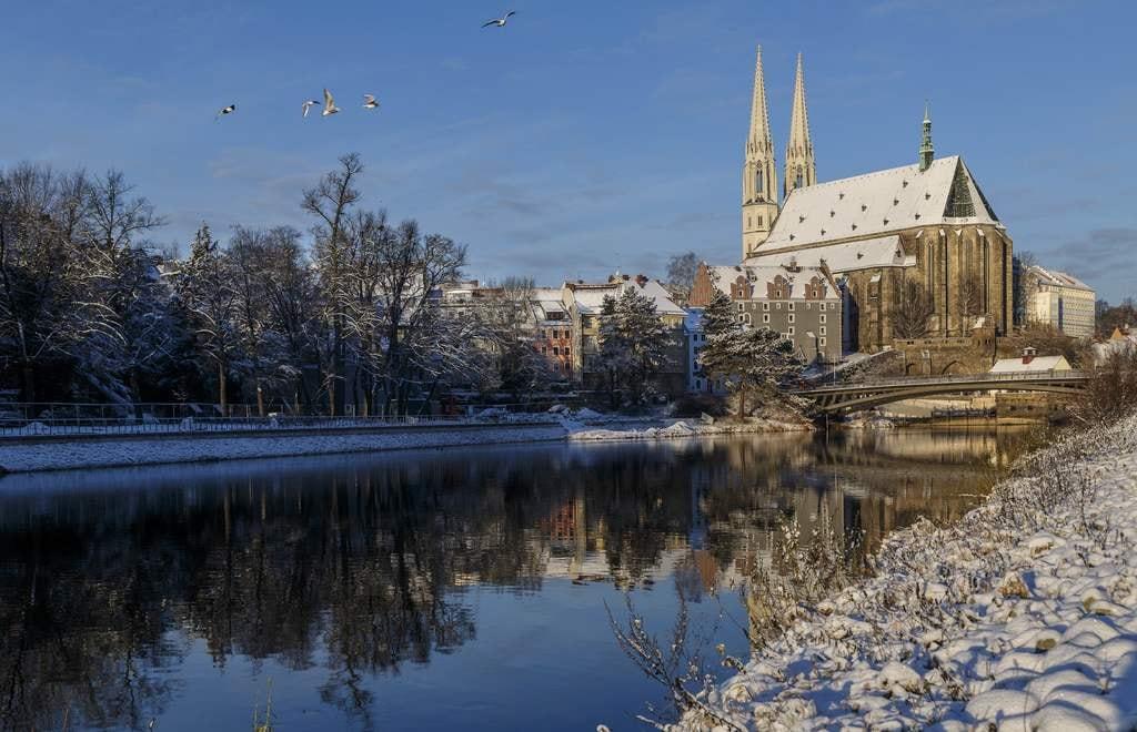 Görlitzer Altstadt mit Peterskirche im Winter /// Foto: Nikolai Schmidt