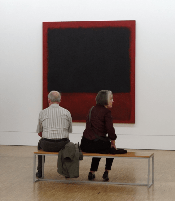 Untitled (Black, Red over Black on Red) by Mark Rothko hanging in the Centre Pompidou | © Esther Westerveld/Flickr