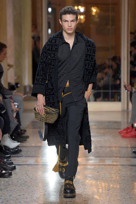 Photo by Davide Maestri/WWD/REX/Shutterstock (9319048aq), Model on the catwalk, Versace show, Runway, Fall Winter 2018, Milan Fashion Week Men's, Italy –13 Jan, 2018