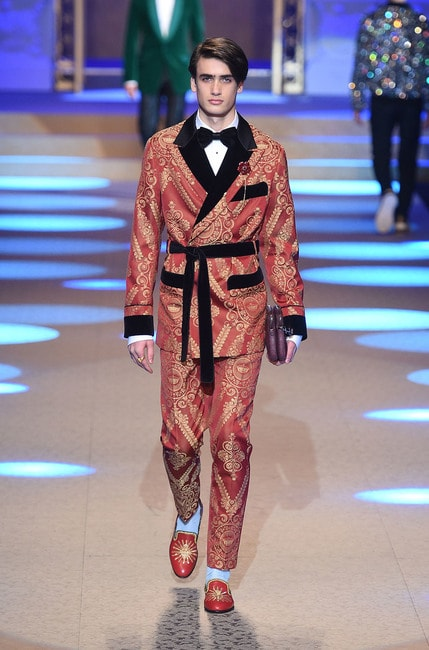 Photo by REX/Shutterstock (9319744be), Model on the catwalk, Dolce & Gabbana show, Runway, Fall Winter 2018, Milan Fashion Week, Italy – 13 Jan, 2018