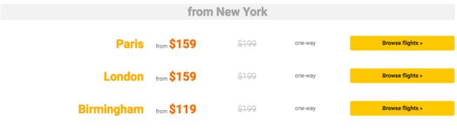 New York Routes | © Primera Air