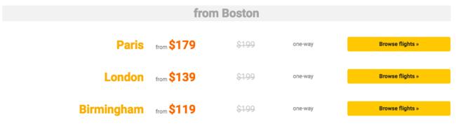 Boston routes | © Primera Air