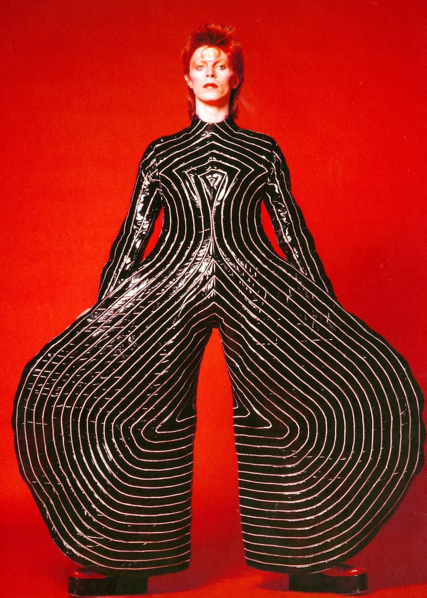 Striped bodysuit for the <em>Aladdin Sane</em> tour, 1973. Design by Kansai Yamamoto. Photograph by Masayoshi Sukita. © Sukita/The David Bowie Archive