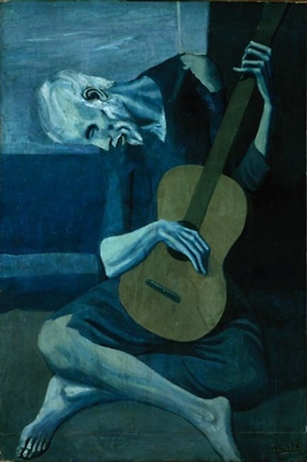 "<em>The Old Guitarist</em> by Pablo Picasso | <a href=""https://www.pablopicasso.org/old-guitarist.jsp#prettyPhoto"" target=""_blank"" rel=""noopener"">© pablopicasso.org</a>"