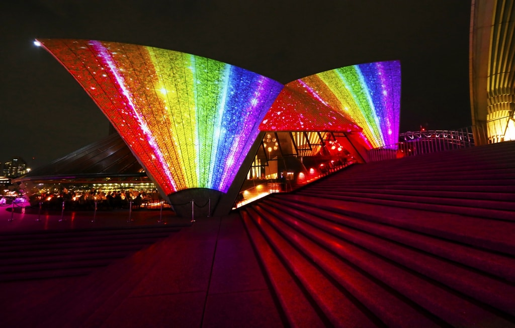The Sydney Opera House lights up rainbow for Mardi Gras   © Courtesy of Ann-Marie Calilhanna/Sydney Gay and Lesbian Mardi Gras