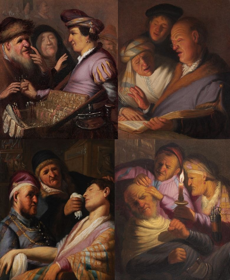 """Four of the five paintings in the<em>Senses </em>series 
