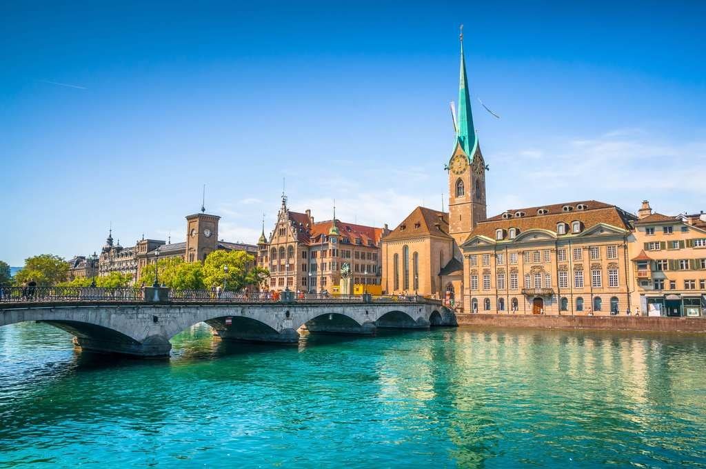 Historic city of Zurich with river Limmat, Switzerland