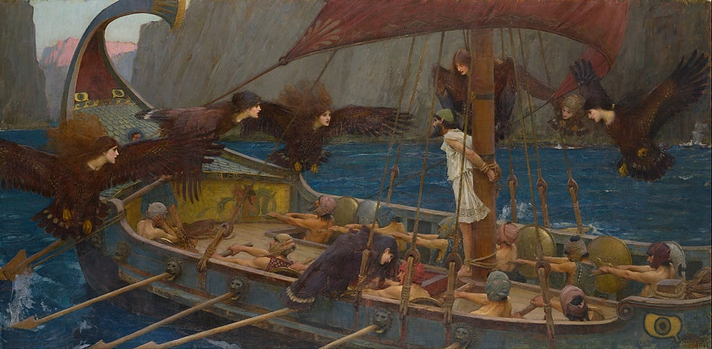 "John William Waterhouse, 'Ulysses and the Sirens,' 1891 | <a href=""https://commons.wikimedia.org/wiki/File:John_William_Waterhouse_-_Ulysses_and_the_Sirens_(1891).jpg"" target=""_blank"" rel=""noopener"">© WikiCommons</a>"