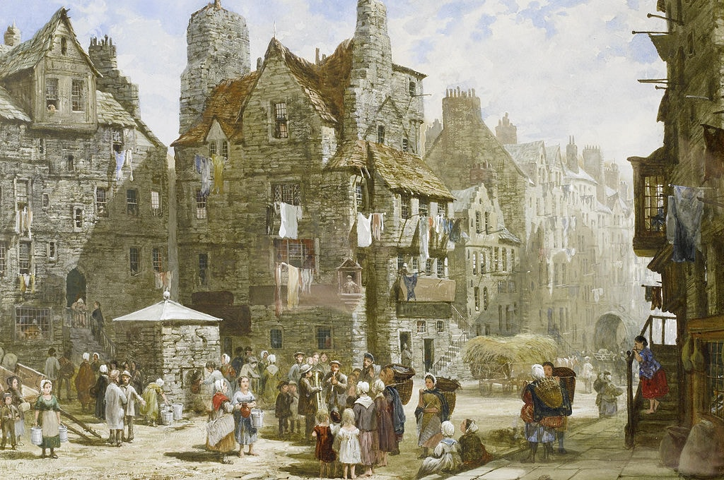 John Knox's House, Edinburgh | painted by Louise Rayner [Public Domain] / via WikiCommons