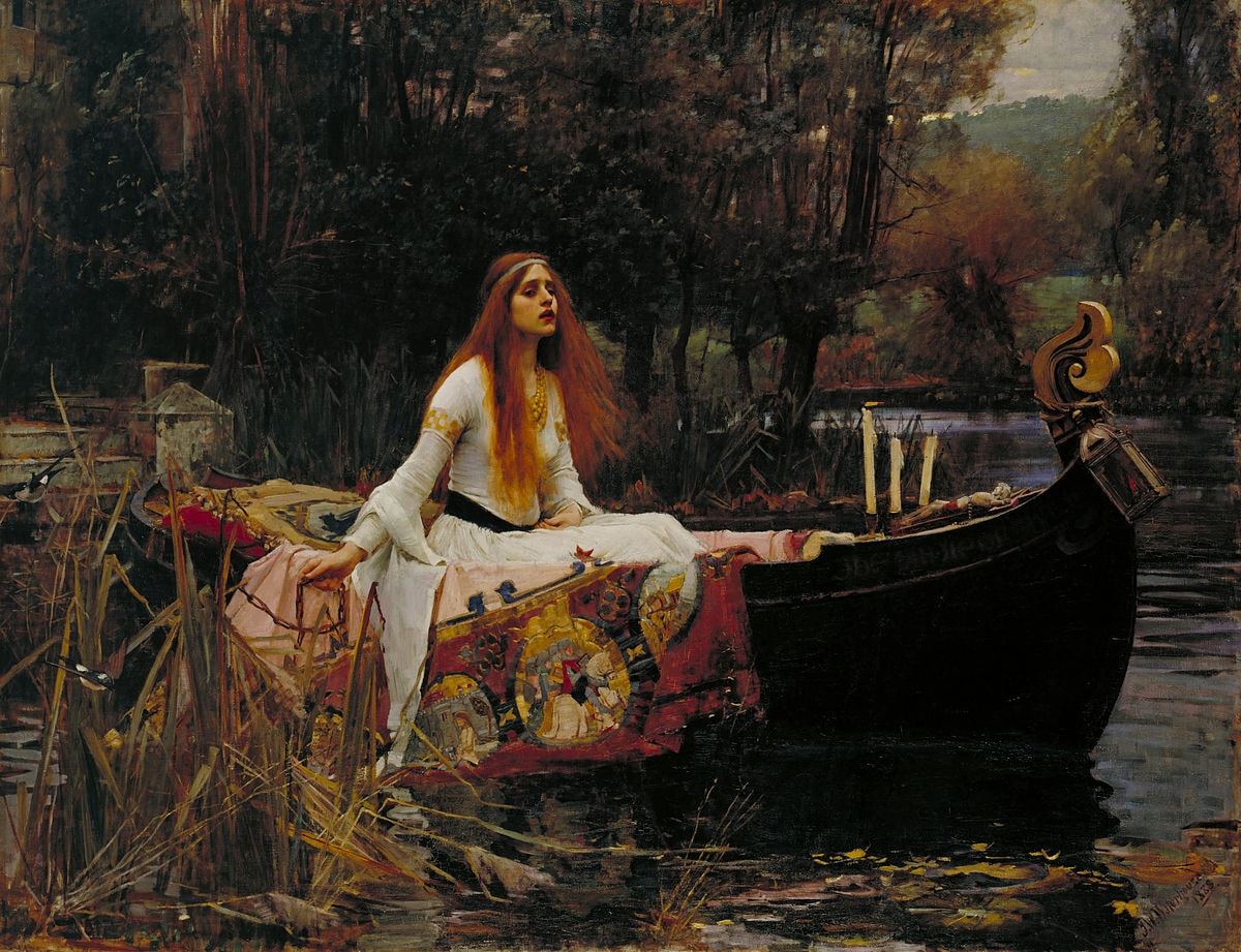 "John William Waterhouse, 'The Lady of Shalott,' 1888 | <a href=""https://commons.wikimedia.org/wiki/File:John_William_Waterhouse_The_Lady_of_Shalott.jpg"" target=""_blank"" rel=""noopener"">© WikiCommons</a>"