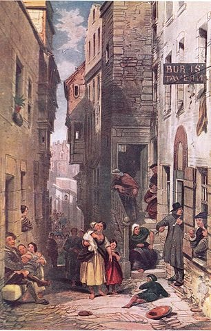 Dowie's Tavern, Libberton's Wynd | drawn by George Cattermole [Public Domain] / via WikiCommons