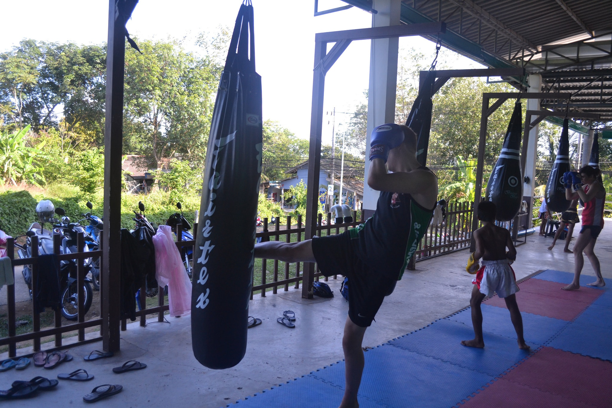 Practicing Thai boxing