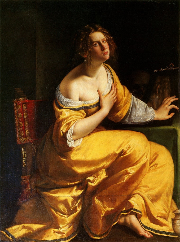"Artemisia Gentileschi, 'Conversion of the Magdalene' ('The Penitent Mary Magdalene'), 1615–1616 | <a href=""https://en.wikipedia.org/wiki/Mary_Magdalene_(Artemisia_Gentileschi)#/media/File:Artemisia_Gentileschi_Mary_Magdalene_Pitti.jpg"" target=""_blank"" rel=""noopener"">© WikiCommons</a>"