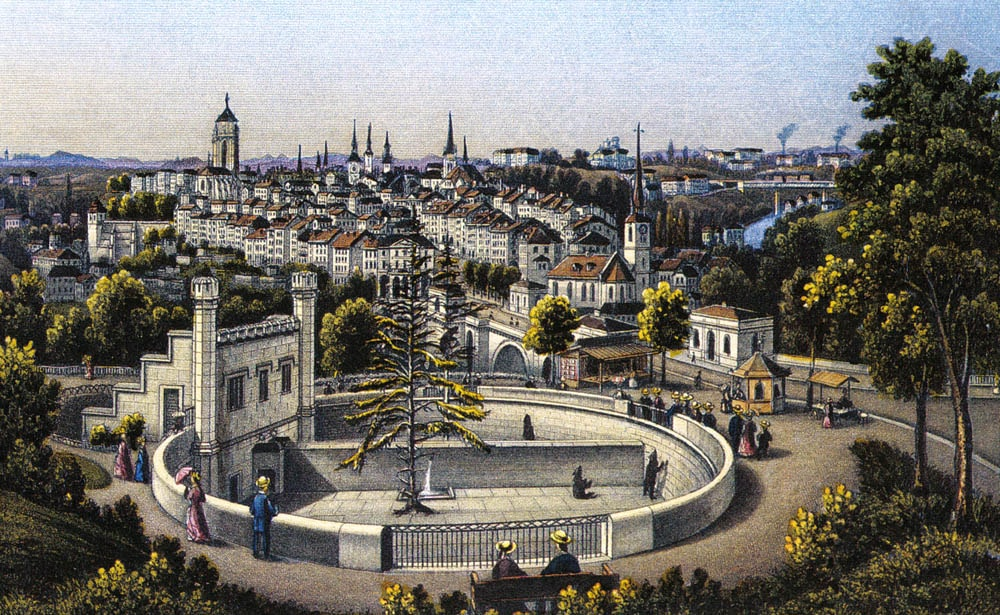 Bern,_view_of_the_Bärengraben_and_the_Old_Town,_around_1880