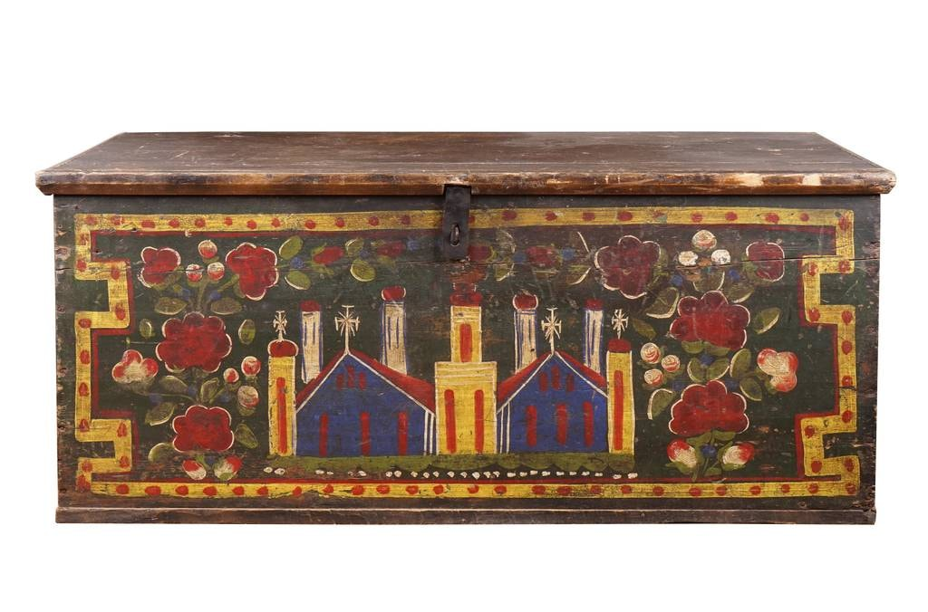 C19th Hungarian wedding trunk with architectural motifs