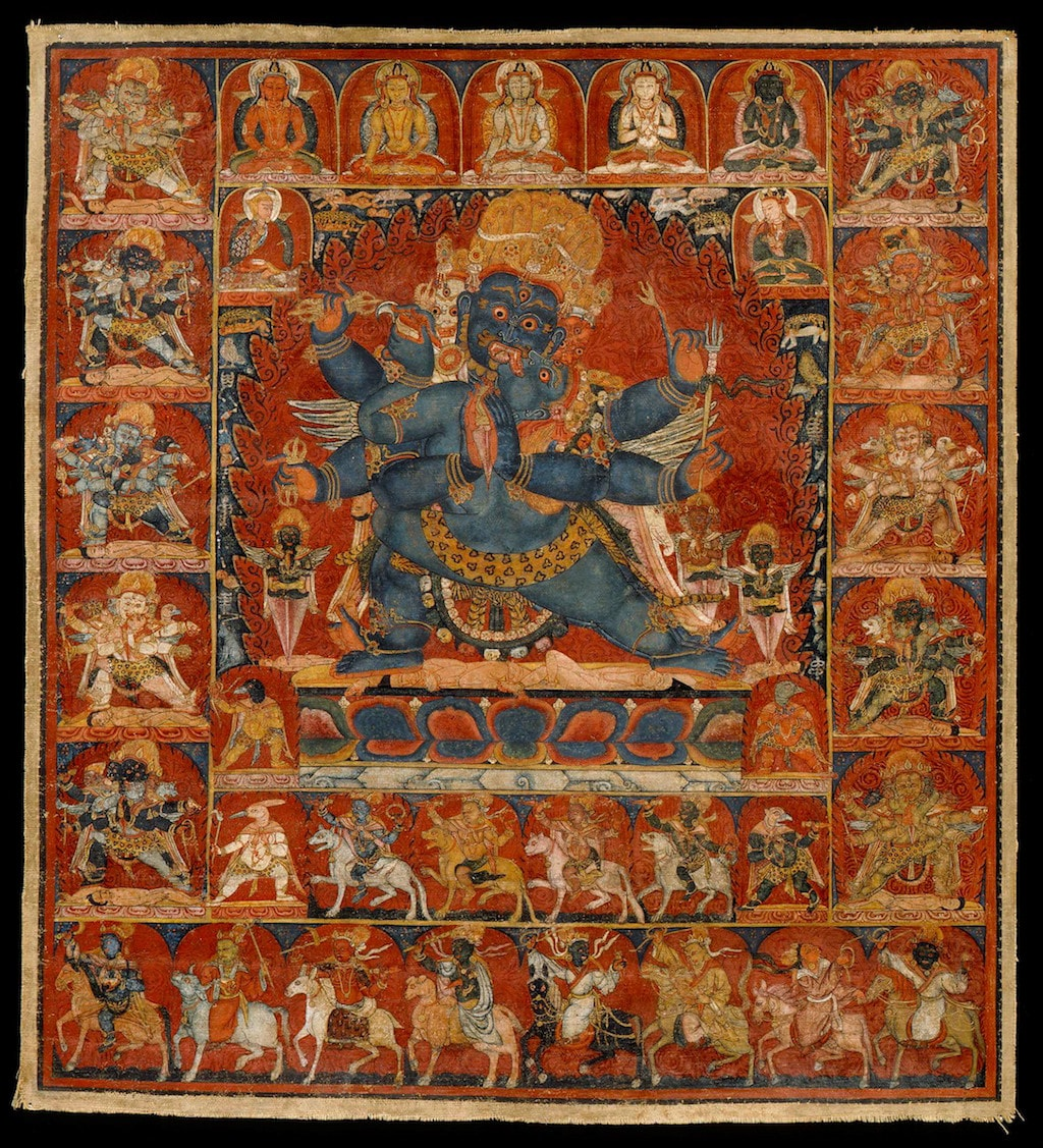 Vajrakilaya of the Eight Pronouncements. Tibet; ca. late 13th century. Pigments on cloth. | Courtesy of the Rubin Museum of Art