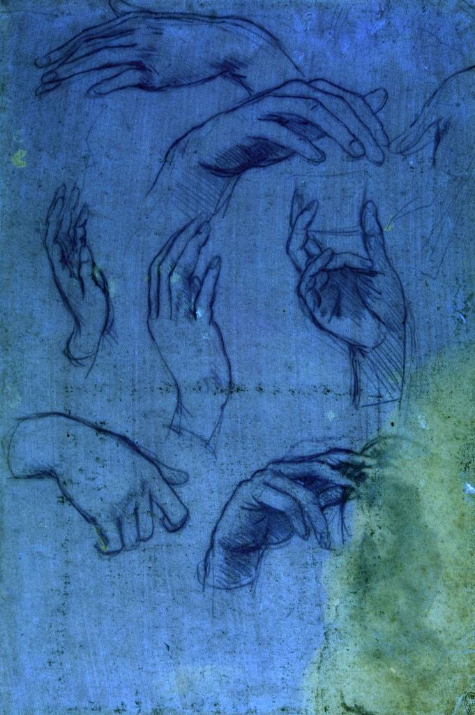 Leonardo da Vinci,Studies of hands for the 'Adoration of the Magi' (sheet 1 under ultraviolet light), c.1481  Royal Collection Trust / © Her Majesty Queen Elizabeth II 2018