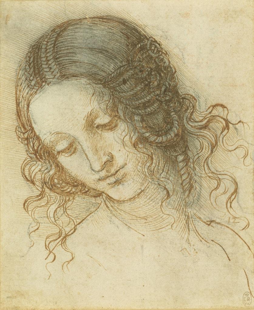 Leonardo da Vinci, The head of Leda, c.1505–8   Royal Collection Trust / © Her Majesty Queen Elizabeth II 2018