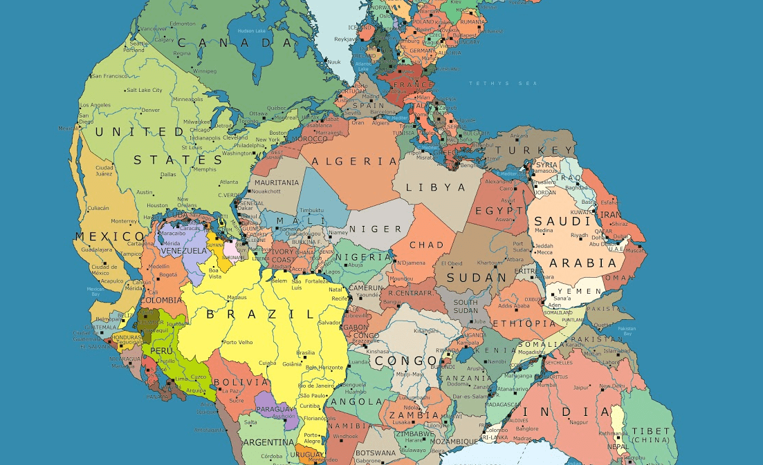 this map shows what the world would look like if pangea still existed