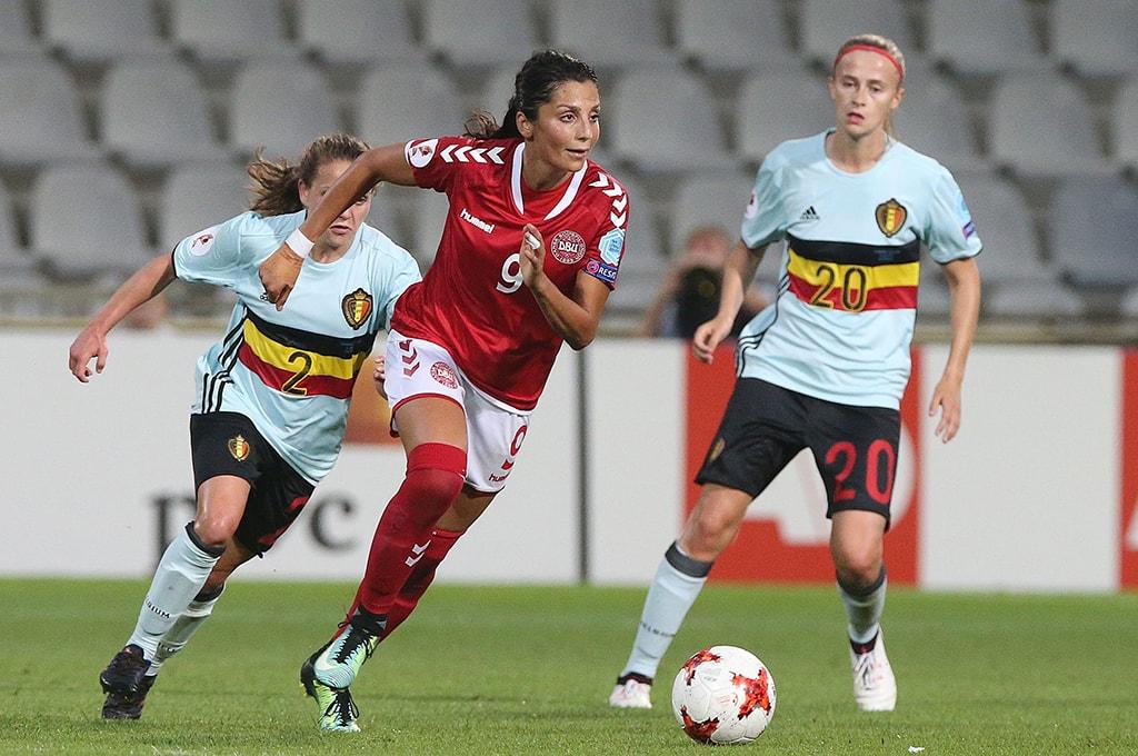 Playing for Denmark against Belgium | © REX/Shutterstock
