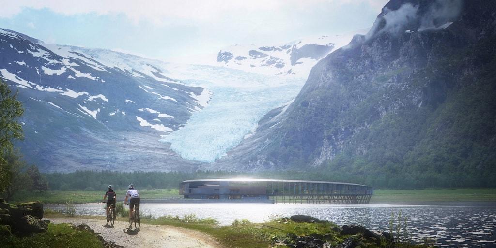View of the hotel and glacier | © Snøhetta/Plompmozes, Courtesy of Snøhetta