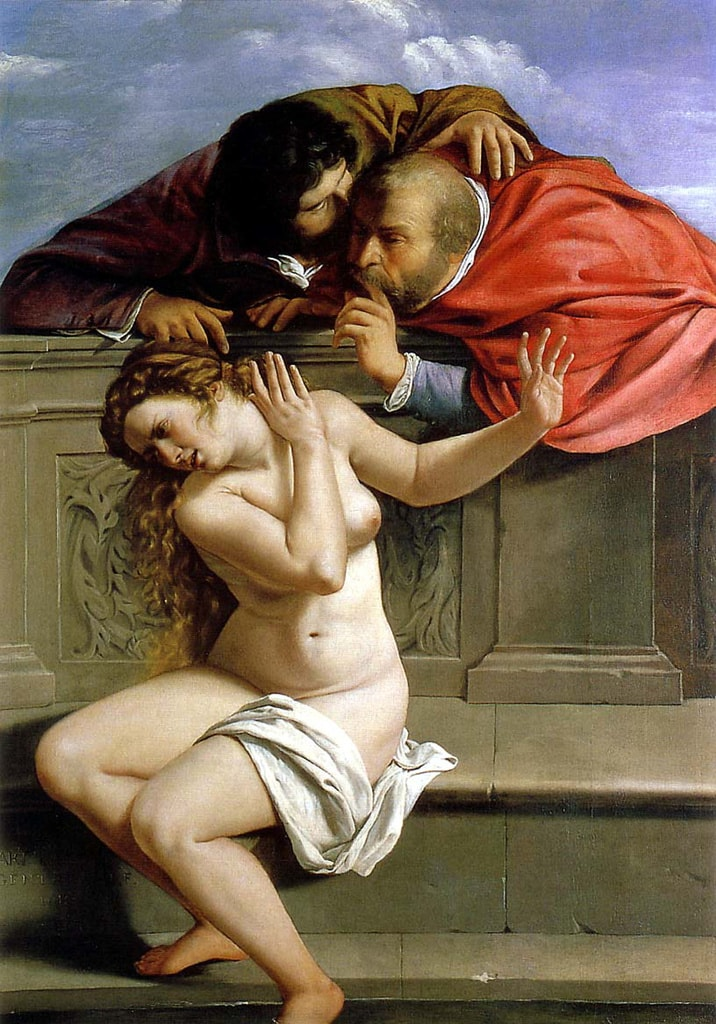 "Artemisia Gentileschi,'Susanna and the Elders', 1610 | <a href=""https://en.wikipedia.org/wiki/Susanna_and_the_Elders_(Artemisia_Gentileschi)#/media/File:Susanna_and_the_Elders_(1610),_Artemisia_Gentileschi.jpg"" target=""_blank"" rel=""noopener"">© WikiCommons</a>"