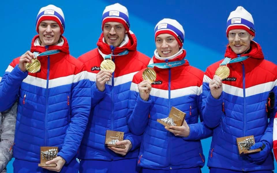 The men's ski jump team, slaying it | Courtesy of Hopplandslaget