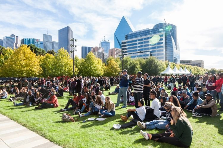 Klyde Warren Park is a popular spot to hang out or attend a festival