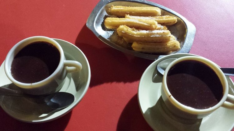 Churros dipped in chocolate are the house speciality at La Marina