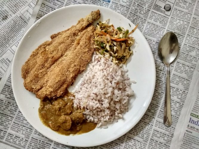 Fish, curry and rice from Hog Worth
