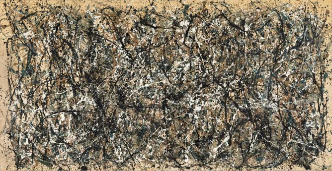 Jackson Pollock (American, 1912-1956). One: Number 31, 1950. 1950. Oil and enamel paint on canvas, 8′ 10″ x 17′ 5 5/8″ (269.5 x 530.8 cm). The Museum of Modern Art, New York. Sidney and Harriet Janis Collection Fund (by exchange), 1968