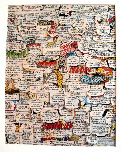 Blanka Amezkua, Untitled, 2016, Collage of text bubbles from recycled Mexican adult comic books