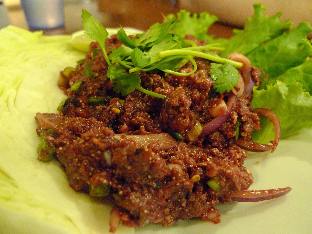 Raw beef salad in Thailand