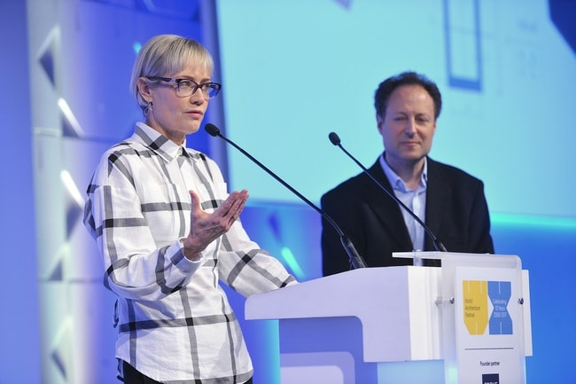 Alison Brooks presenting The Smile at the World Architecture Festival