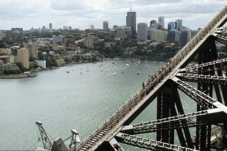 Tourists descending Sydney Harbour Bridge. Image shot 2005. Exact date unknown.