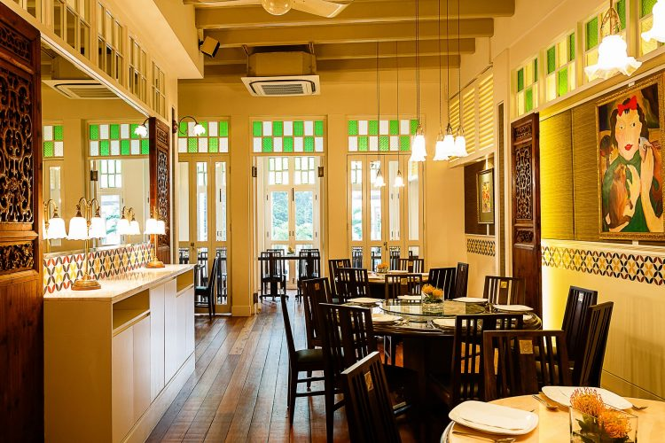 Interior of The Blue Ginger restaurant in Singapore