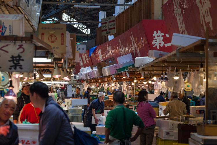 Shoppers visit Tsukiji Fish Market in Tokyo.