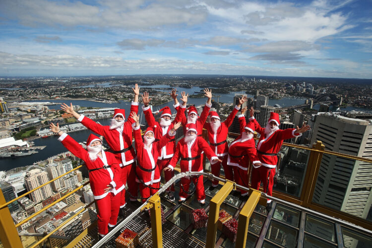 Santas Visit SKYWALK At Sydney Tower Eye