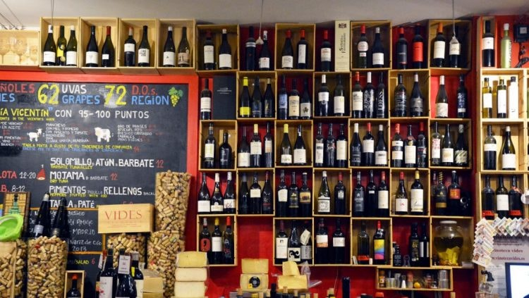 Wines on display at Vinoteca Vides