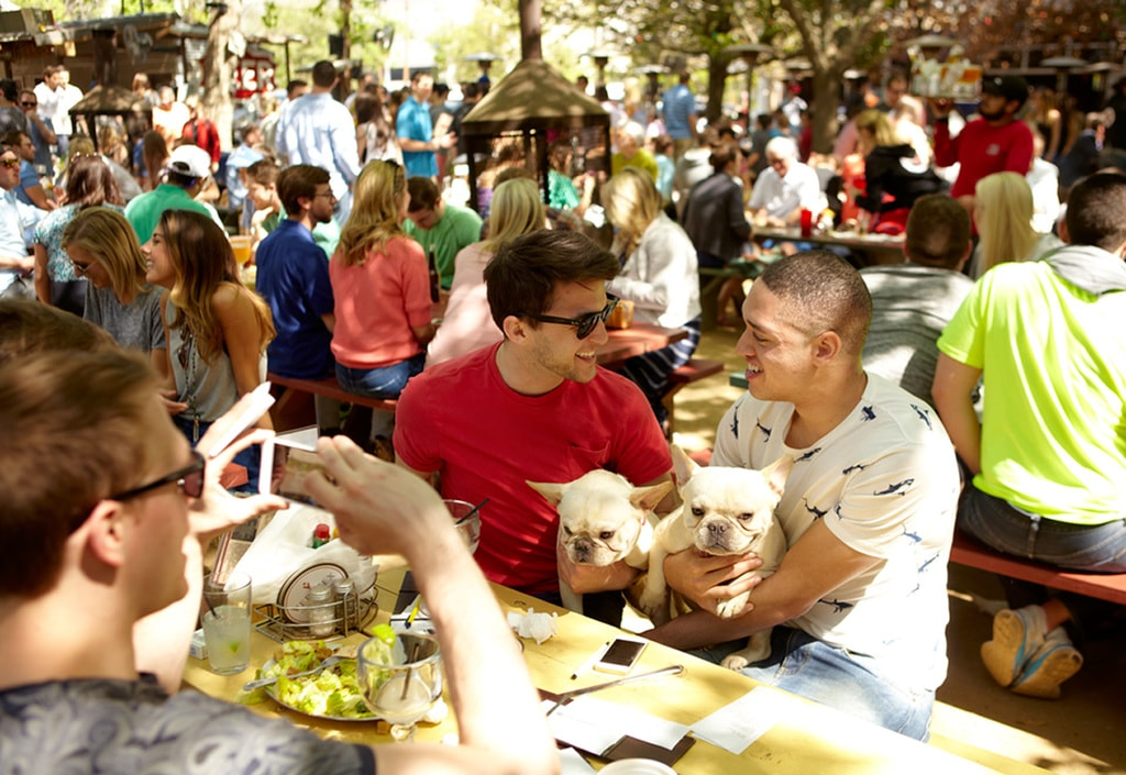 People flock to the dog-friendly Katy Trail Ice House for drinks and food