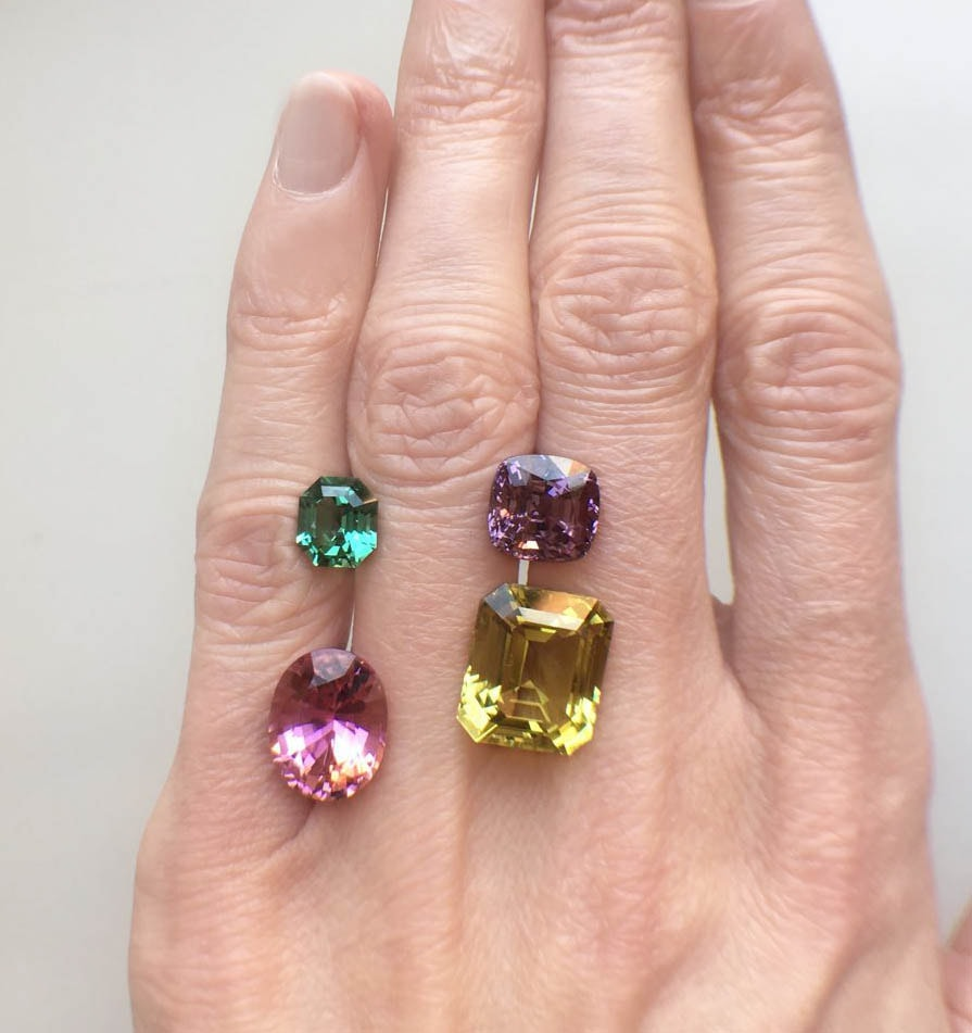 lagoon and pink tourmaline purple lavender spinel and yellow green beryl