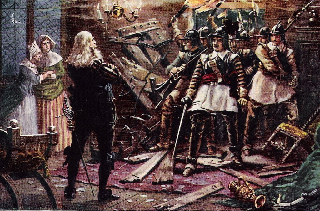 Roundheads breaking into the home of a royalist