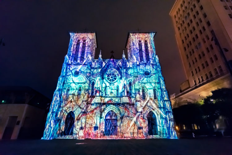 'The Saga' is projected onto San Fernando Cathedral in Main Plaza