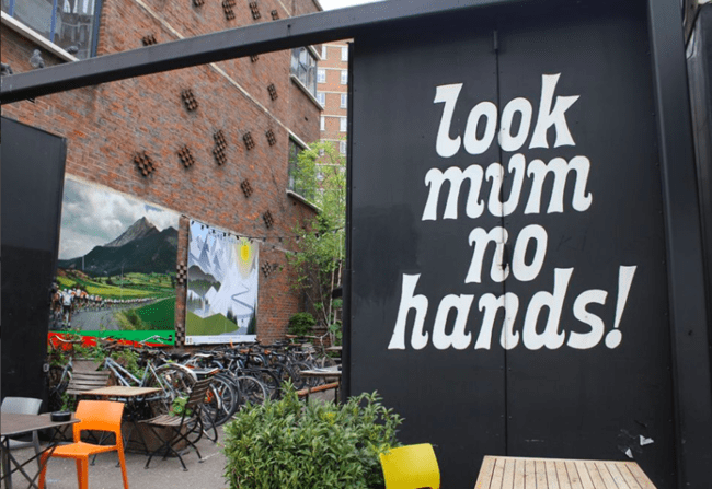 Look Mum No Hands! is a café, bar and bicycle workshop